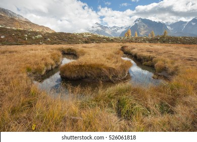 A river like a snake flows in Ahrntal (Italy) in autumn