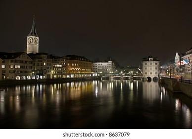 Zürich with river Limmat by night.