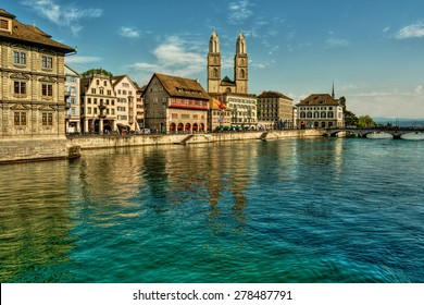river Limmat and Great Minster in Zurich (Switzerland), HDR-technique