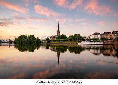 River main at sunset, Frankfurt Germany