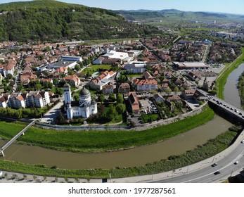 The river Târnava Mare crossing the city of Sighisoara, Transylvania, Romania