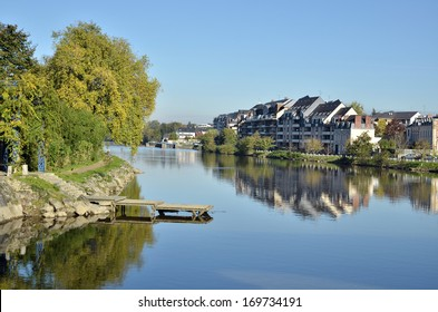 The river Mayenne at Laval, commune in the Mayenne department in north-western France
