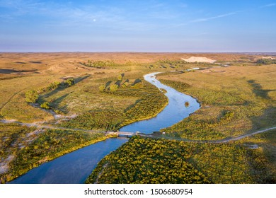 river meandering through Nebraska Sandhills - aerial view of the MIddle Loup River above Halsey