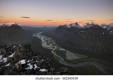 River meandering through Rapadalen valley Sarek, Sweden