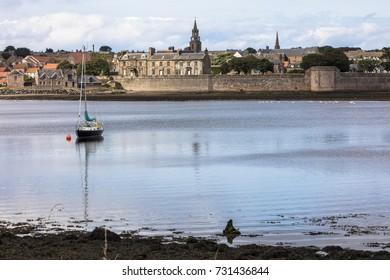 River meets sea at coastal town
