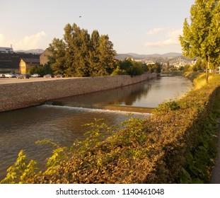 River Miljacka in Sarajevo, late afternoon.