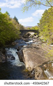 River Moriston falls by Invermoriston bridge Scotland UK Scottish tourist destination beautiful summer day