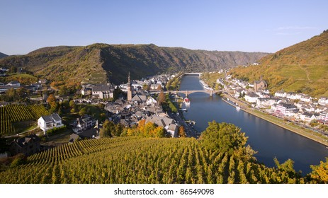 The river Mosel along the idyllic small city Cochem, Germany.