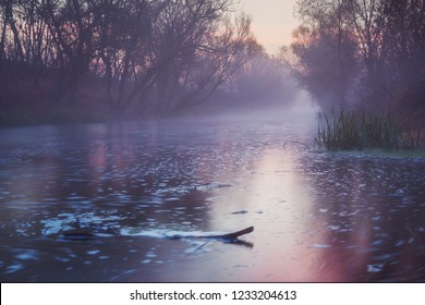 River in motion at sunrise