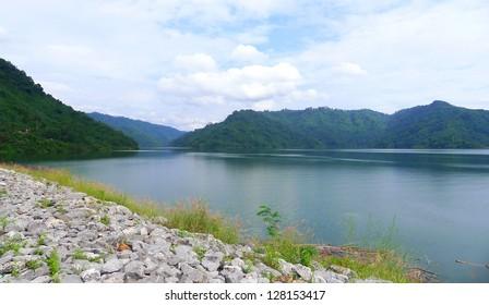 River and mountain backside of Khundanprakanchon dam, Nakhon Nayok, Thailand