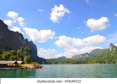 River mountain cloud boat
