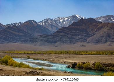 River & Mountain, Leh, Ladakh, India.