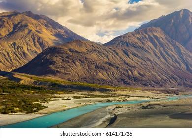 River & Mountain, Nubra Valley, Leh, India.