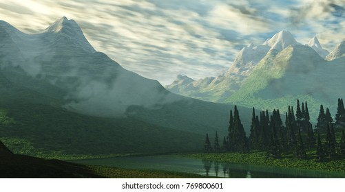 river in the mountains, mountain landscape, 3d rendering