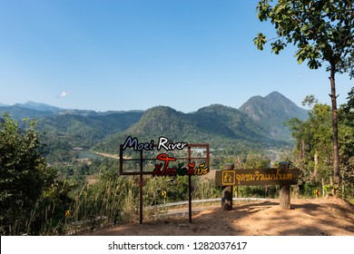 Moei River and mountains in Myanmar scenic viewpoint in Mae Moei National Park at Tha Song Yang district, Tak province, Thailand. (words mean Moei River's name and  Moei River viewpoint.)