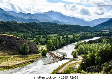 river in the mountains, photo as a background , in janovas fiscal sobrarbe , huesca aragon province