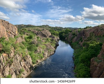 River and mountains at Quanah Parker Lake Dam in the Wichita mountains wildlife refuge. Indiahoma, OK
