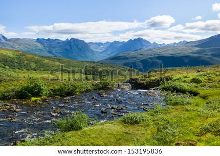 River in the mountains of Troms, Norway