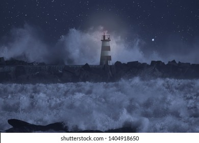 River mouth pier and a light beacon in a stormy sea at night.