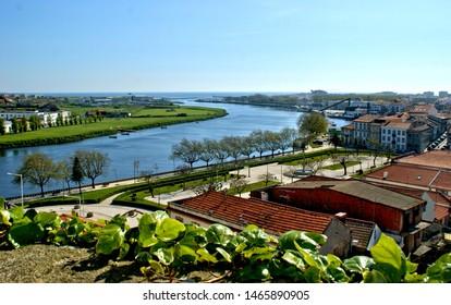 River mouth in Vila do Conde, Portugal