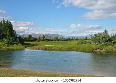 The river in the natural Park on the Taimyr Peninsula. Summer landscape of the Northern river.