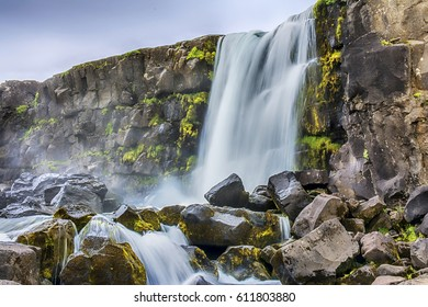 river near Oxararfoss waterfall in Thingvellir National Park