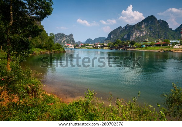 River near the town of Phong Nha in the National Park of Phong Nha Ke Bang, Vietnam