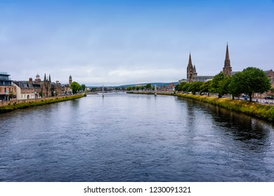 The River Ness, as it runs through the city of Inverness, the cultural capital of the Scottish Highlands.