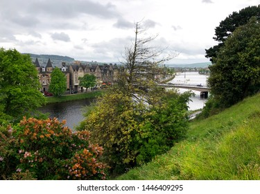 The River Ness as it runs through the small city of Inverness in Scotland