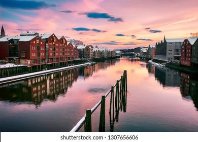 River Nidelva in the Norwegian city Trondheim in the winter