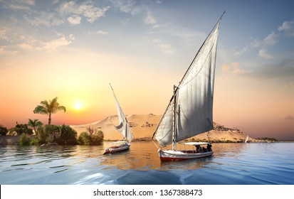 River Nile and boats at sunset in Aswan