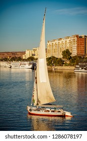 River Nile tourist boat Felucca at sunset in Luxor Thebes