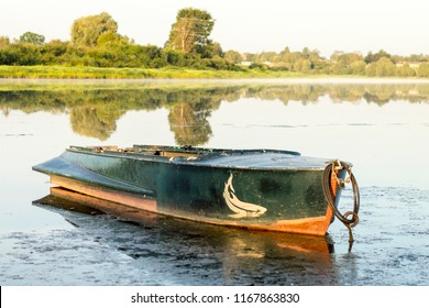 river old boat on the water