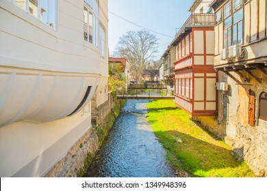 River and old bridge between houses in town of Samobor in Croatia