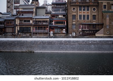river and old houses in Kyoto Japan