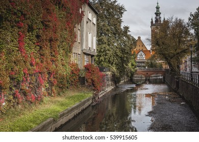 River in the old town center of Gdansk, Poland