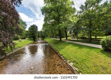 River Oos and the famous Lichtentaler Allee in Baden Baden. Where emperors and czars strolled. Baden Wuerttemberg, Germany, Europe