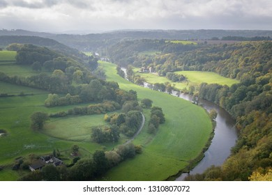 The river Ourthe running through the green and orange colored forst of the Belgian Ardennes