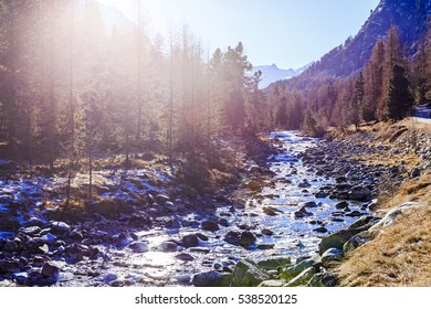 River Ova de Roseg in Val Roseg in Switzerland