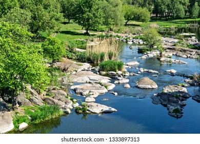 River and parck landscape. Europe. Ukraine.