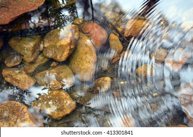 River pebbles under tranquil rippled stream water