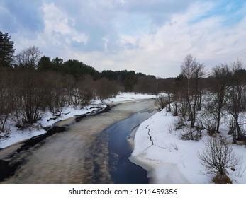 River Pes', Novgorod Oblast. Frozen in winter