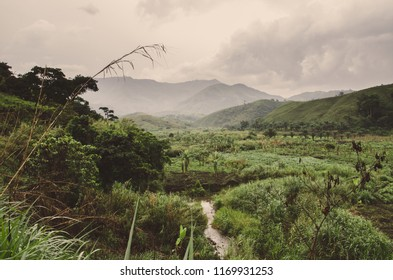 River, plantations, mountains and lush green tropical vegetation on overcast day at Ring Road, Cameroon, Africa