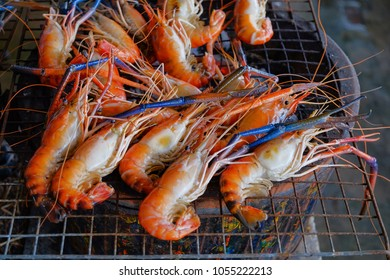 River prawns or giant freshwater prawns are roasted on sieve with stove.