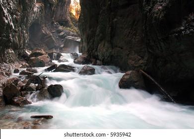 River raging through a gorge in Garmisch-Partenkirchen, Germany