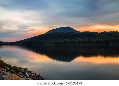 River Reflection Mountain Sunset