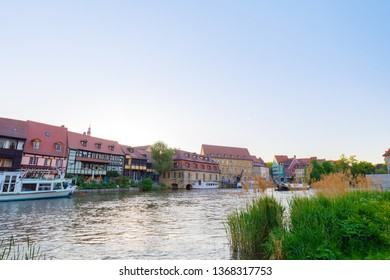 River Regnitz with old houses in City of Bamberg, Bavaria, Germany