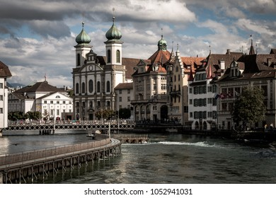 River Reuss, Jesuit Church and old town of Lucerne, Switzerland