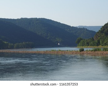 river rhine with low water in summer 2018