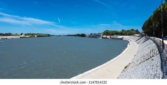 The river Rhone at Arles. Buches du Rhone, Provence, France.